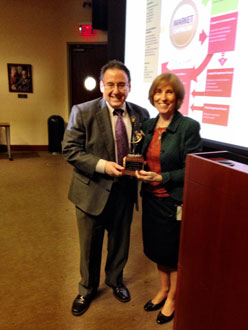 Harvard Professor Lynn Paine, right, spoke to students about leadership as part of the Dean's Lecture Series.