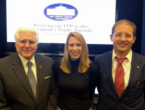 Knud Berthelsen, right, was one of about 50 business leaders and export professionals invited to attend a White House briefing on the Trans-Pacific Partnership. Also pictured is White House Business Council Director Diane Doukas, center, and Port of South Louisiana Executive Director Paul Aucoin.