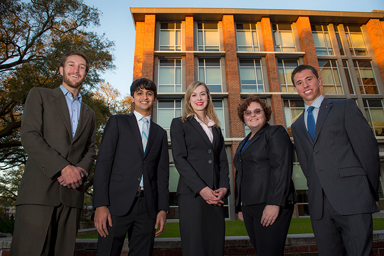 Freeman students Sarah Lawhorne, Andrew Landsiedel, Michael Kreisman, Neil Barot and Sara Scott, left to right, beat out more than 450 teams from across the U.S. to win this year's PwC Challenge accounting case competition. (Photo by Paula Burch-Celentano)