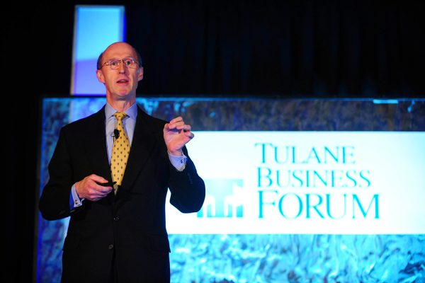 Mark Brown (MBA '90), president and CEO of the Sazerac Co., discussed the company's growth into one of the top five spirits companies in the world as the Tulane Business Forum's luncheon keynote speaker.