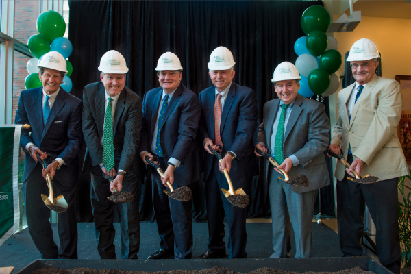 Celebrating the start of the $35 million renovation and expansion of Tulane University's A. B. Freeman School of Business were, left to right, Board of Tulane Chair Darryl Berger, board member E. Pierce Marshall Jr., Tulane President Mike Fitts, board member Bill Goldring, Freeman School Dean Ira Solomon, and board member and Business School Council Chair Jerry Greenbaum.