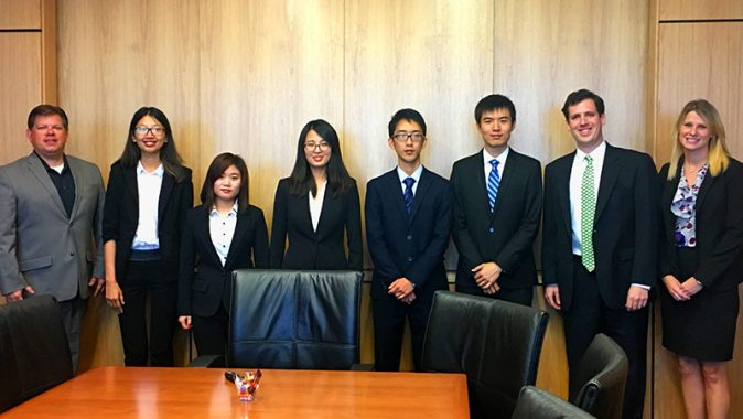 """A team of Freeman Master of Finance Students won second place in the 2016 ACG Cup. From left to right, Chris Reid of Cardinal Capital, students Fei """"Fay"""" Cheng, Yeqian """"Chelsea"""" Fu, Mengying """"Hugo"""" Hu, Sizhe """"Suzy"""" Mei, Shaoxuan Sun,  Patrick Willis of Baker Donelson and Diane Wszalek of Republic Business Credit."""