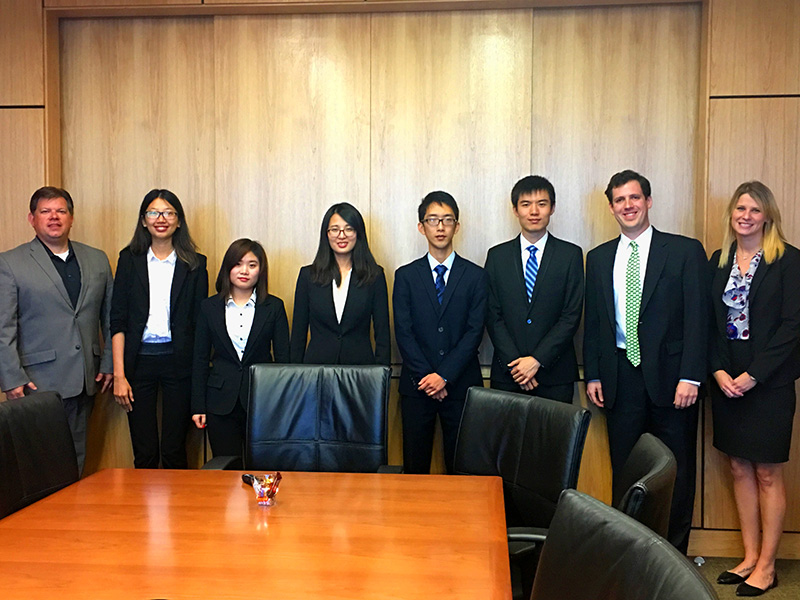"A team of Freeman Master of Finance Students won second place in the 2016 ACG Cup. From left to right, Chris Reid of Cardinal Capital, students Fei ""Fay"" Cheng, Yeqian ""Chelsea"" Fu, Mengying ""Hugo"" Hu, Sizhe ""Suzy"" Mei, Shaoxuan Sun, Patrick Willis of Baker Donelson and Diane Wszalek of Republic Business Credit."