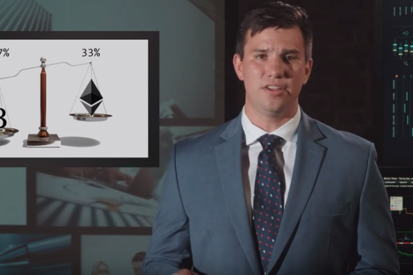 In an image from his team's video submission, J.P. Navarro (MBA '17) makes his case for a portfolio comprising 67 percent Bitcoin ad 33 percent Ether.