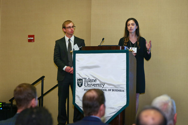 Perri Levine, right, and Ryan Fishel makes their pitch for CMDX Biopsy during last month's semifinal round of the Tulane Business Model Competition. CMDX Biopsy, Instapath Bioptics and Kaleyedos will compete for $25,000 in the competition's final round, which will take place on Thursday, April 20, at the New Orleans BioInnovation Center. (Photo by Guillermo Cabrera-Rojo)